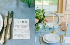 powder blue, blush and gold wedding table setting with rough edge calligraphy menu
